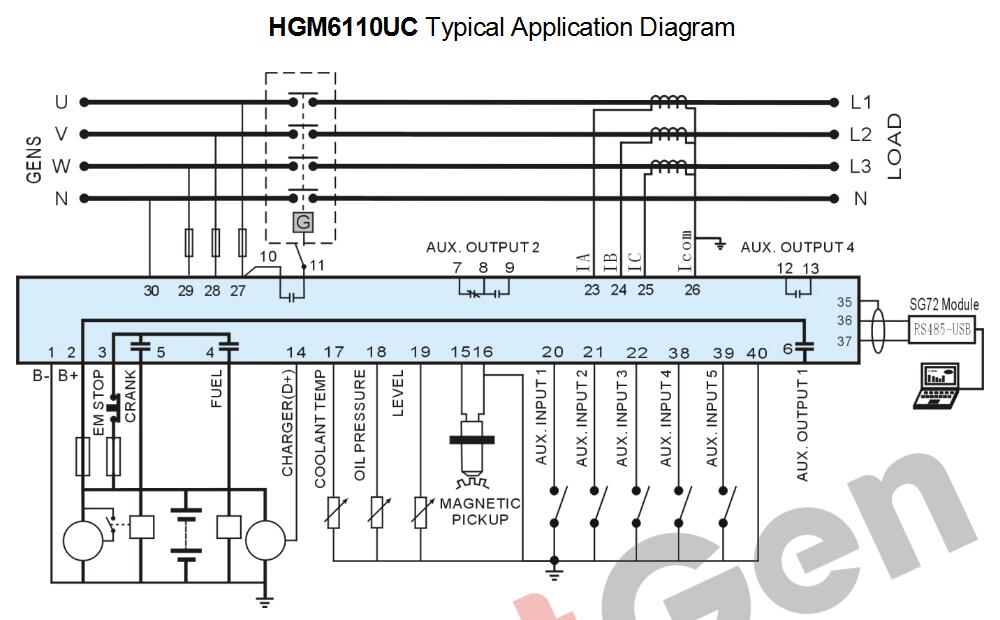 HGM6110UC hgm6110ulcd display, silicone panel smartgen,genset controller smartgen controller wiring diagram at alyssarenee.co